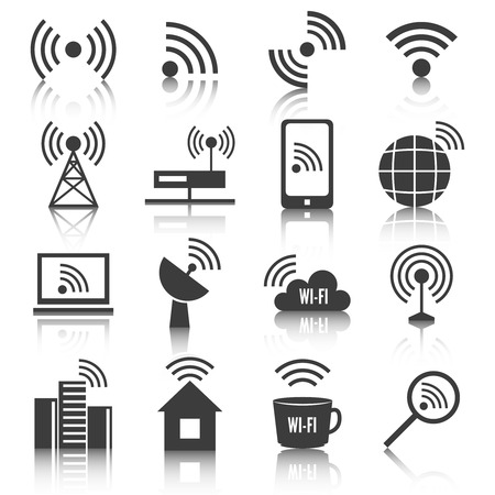 Wireless communication network business black icons set of wifi signal search cell tower and transmitter antenna isolated  Vector