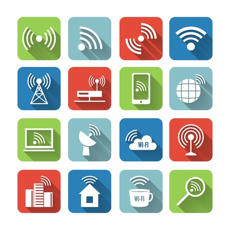 Wireless communication network business flat icons set of global connection wifi signal search and cell tower and isolated