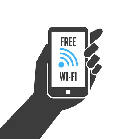 wireless connection: Hand holding smartphone with free wifi wireless connection business concept isolated  Illustration