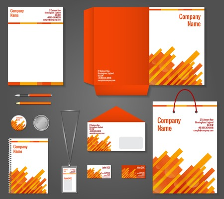 stationary set: Red and orange geometric technology business stationery template for corporate identity and branding set