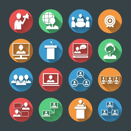 Business people meeting at office online conference presentation icons set isolated