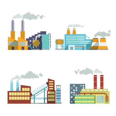 Industrieel gebouw fabriek en energiecentrales icon set geïsoleerd