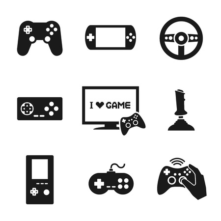 game pad: Video computer console games controller icons set of joystick keypad steering wheel isolated vector illustration