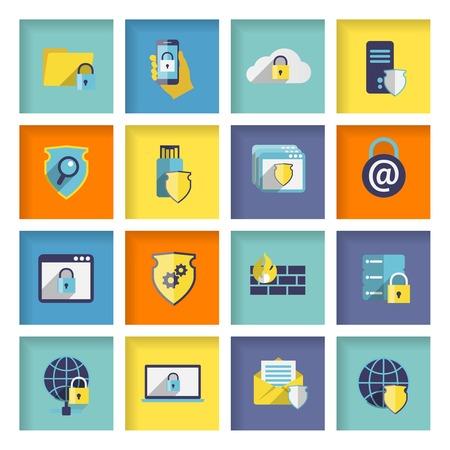 protected database: Iconos planos de seguridad Tecnolog�a de la informaci�n establecidos de conexi�n de red cloud firewall aislado