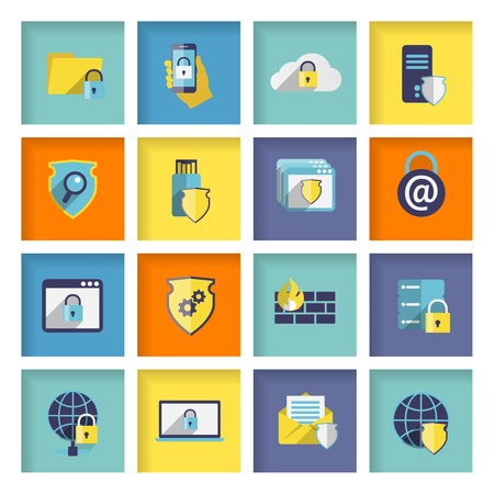 Information technology security flat icons set of cloud network connection firewall isolated  Vector