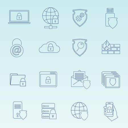 Information technology security icons set of wireless data transfer protection isolated  Vector