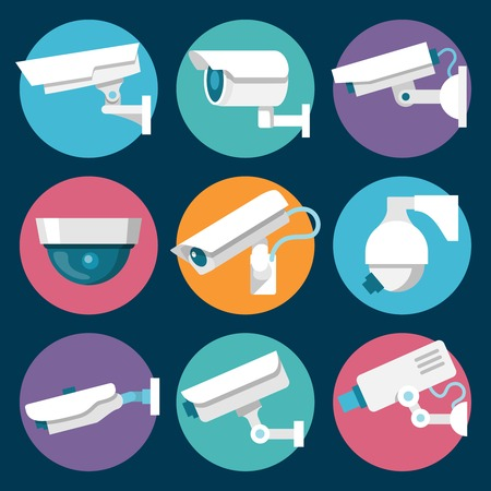 private security: Digital CCTV multiple security cameras color stickers set isolated