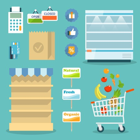 shelves: Supermarket online website concept with food assortment, opening hours and payment options icons