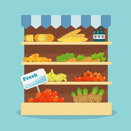 Supermarket grocery shelf layout with fresh fruits, vegetables, bread and wine flat