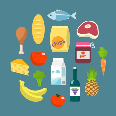canned food: Online supermarket foods flat concept of grocery or butchery design elements with meat fish fruits and vegetables