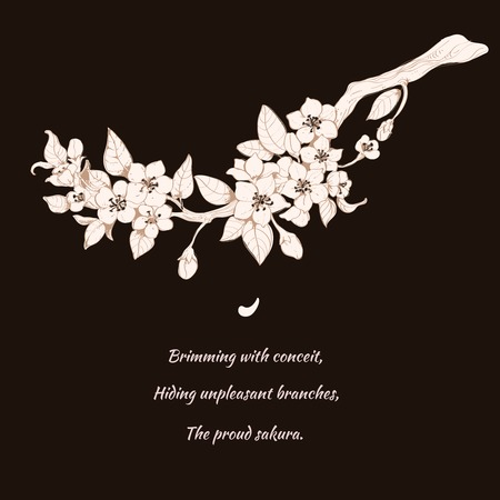 Rosa Sakura-Zweig Druck auf schwarzem Hintergrund mit japanischen Stil Gedicht