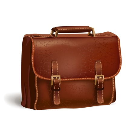 brief case: Classic modern brown leather textured business briefcase isolated