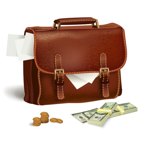 Classic modern brown leather business briefcase with documents money and coins concept isolated  Vector