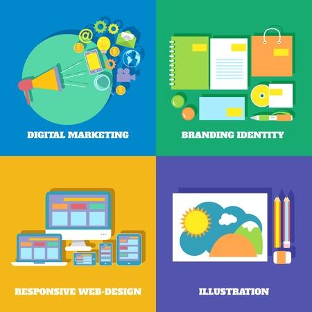 Icons set of digital marketing branding identity responsive web design illustration Vector
