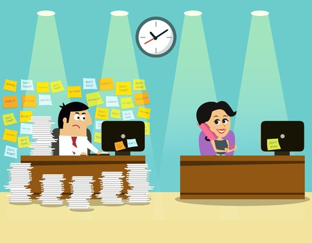 Business life hard worker man at the desk overloaded with papers and happy girl concept illustration Illustration
