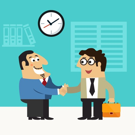 hire: Business life chief executive hires employee handshake scene concept illustration Illustration