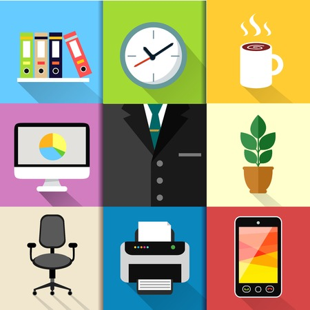 copier: Business suits web design elements with laptop mobile phone printer clock and paper folders illustration Illustration