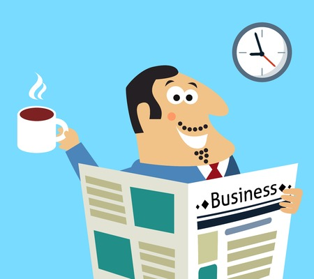 Business life morning happy boss with coffee mug and newspaper reading news stock prices scene concept  illustration Vector