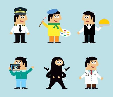 ninja: Professions icons set of pilot artist waiter photographer ninja doctor illustration