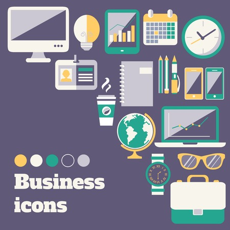 Business office accessories supplies and electronic gadgets poster design layout template Vector