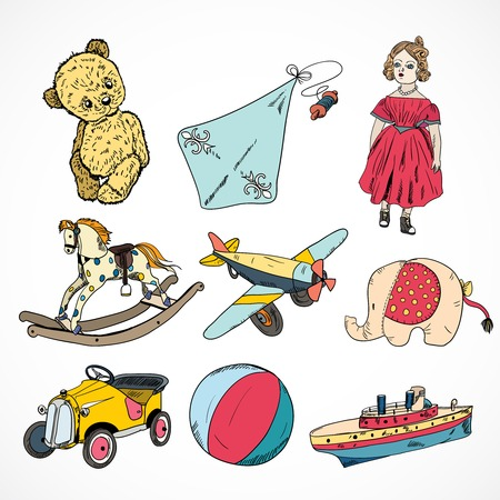 steamship: Decoratieve kinderspeelgoed schets pictogrammen set van stoomschip vlieger hobbelpaard bal geïsoleerde illustratie