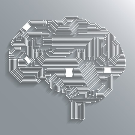Electronic computer technology circuit board brain shape background or emblem isolated illustration Çizim