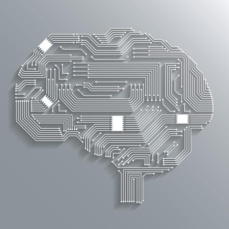 Electronic computer technology circuit board brain shape background or emblem isolated illustration Illustration