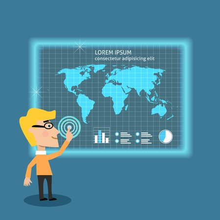 Abstract adult business man analyzing big data using touch screen board concept illustration Vector
