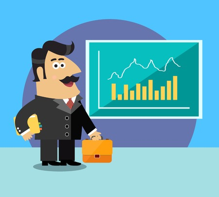 shareholder: Business life shareholder in suit  with briefcase and paper folder near the chart scene concept illustration Illustration