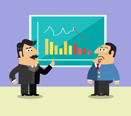 shareholder: Business life shareholder in suit near the graph and frustrated executive director scene concept illustration Illustration