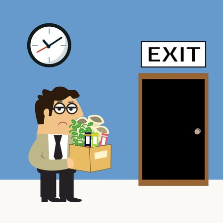 belongings: Business life sad employee with personal belongings box goes to exit door fire scene concept illustration