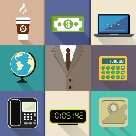 Business decorative items and office accessories with suit dollar notebook globe calculator phone clock safe illustration Vector