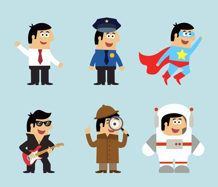Profesiones iconos conjunto de gerente de policía músico superhombre detective astronauta ilustración