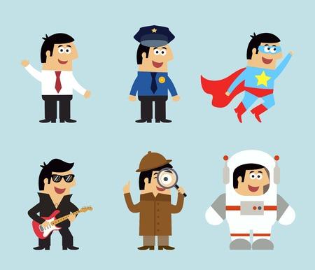 policia caricatura: Profesiones iconos conjunto de gerente de polic�a m�sico superhombre detective astronauta ilustraci�n