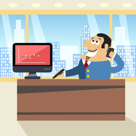 Business life happy boss in office with mobile phone pen and computer scene concept illustration Vector