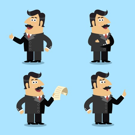 shareholder: Business life shareholder in suit with paper emotional gestures and poses set isolated illustration Illustration