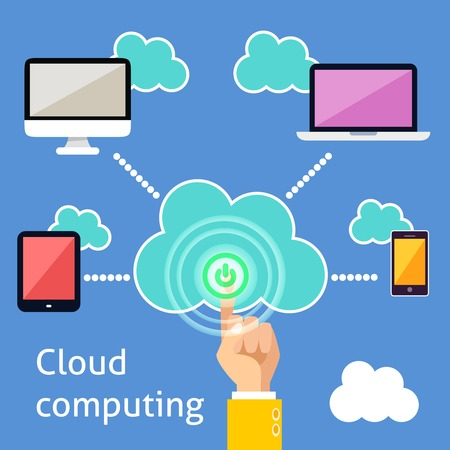 Cloud computing technology power button and connected gadgets of computer tablet mobile phone and laptop info graphic illustration Vector