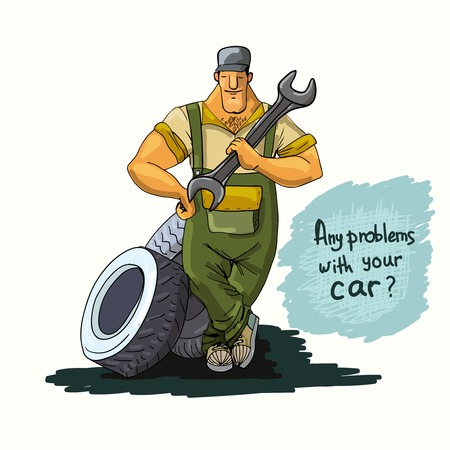 Auto mechanic repair service worker with wrench and tires poster illustration Vector