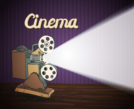 Cinema entertainment doodle concept poster with retro camera projector and beam of light illustration Vector