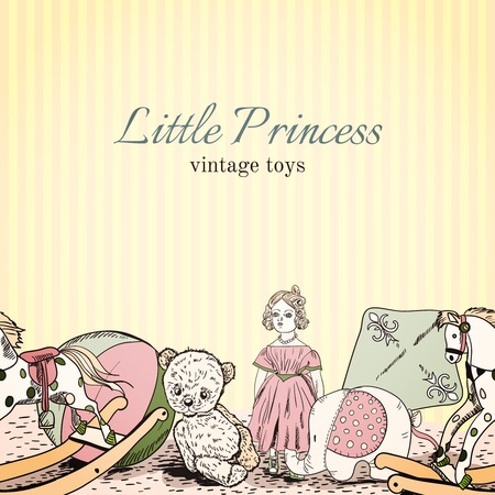 Vintage kids toys shop little princess sketch leaflet template with doll elephant teddy bear illustration Vector