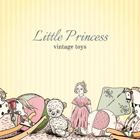 Vintage kids toys shop little princess sketch leaflet template with doll elephant teddy bear illustration