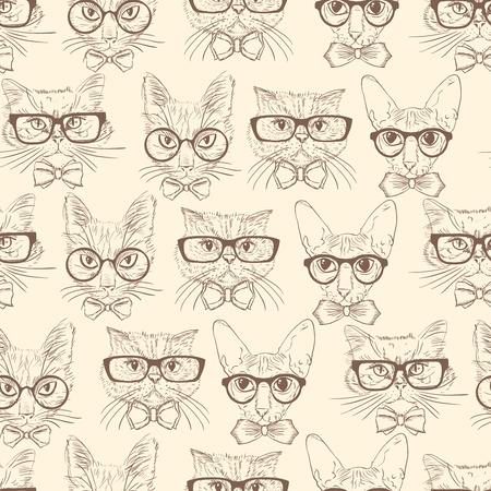 pattern sans soudure: Chats Seamless dessin�s � la main dans les accessoires hipster motif de fond illustration Illustration