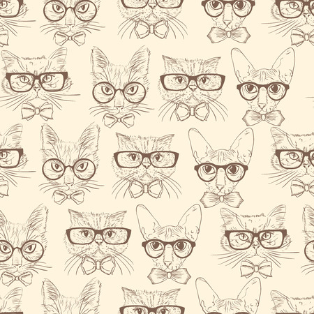 Seamless hand drawn cats in hipster accessories pattern background illustration
