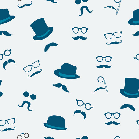 Seamless doodle accessories of mustache hats and glasses pattern background illustration Vector