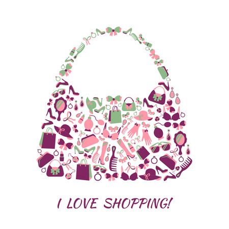 'young things': Woman shopping bag purse made of girl accessories and love shopping text poster illustration