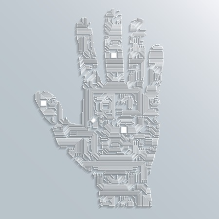 Electronic computer technology circuit board hand shape background or emblem isolated illustration Vector