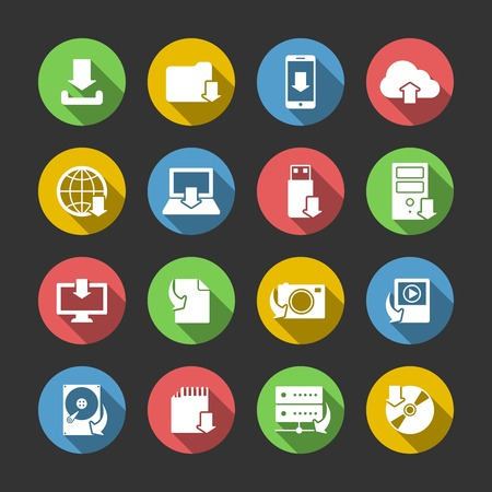 Internet download symbols collection for computer and mobile electronic devices flat icons set in circles isolated illustration Vector