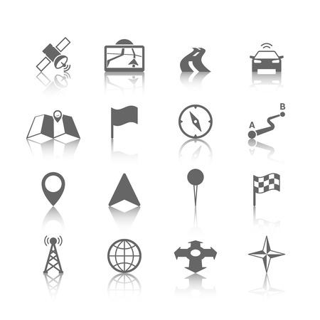 navigation pictogram: Navigation icons set of globe road map flag car compass flag illustration Illustration