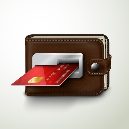 cash money: Classic modern brown wallet with leather texture as an atm bank machine slot with credit card concept isolated illustration