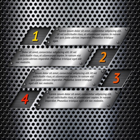 perforated surface: Abstract metal business info graphics options layout design with perforated surface illustration